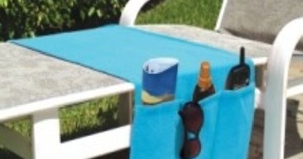 Chaise lounge chair organizer terry cloth towel turquoise for Chaise lounge beach towels