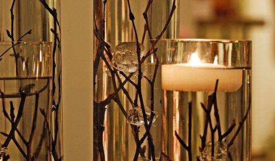 Centerpiece candle arrangements.