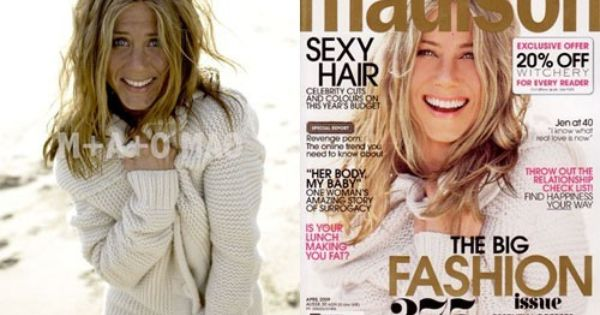 Jennifer Aniston with and without Photoshop for a cover ...