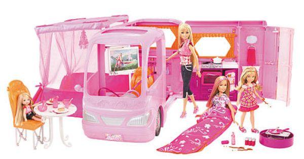 Barbie Pink Glamour Camper With Dolls Play Set Mattel