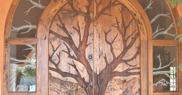 Oak tree design on front door. oak wood door