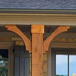 Brown Stained Cedar Post Braces With Curve Porch Columns House