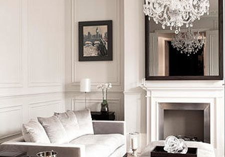 Simple yet elegant French home decor - minus the chandelier though!!