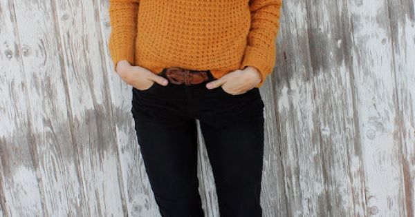 perfect fall look - mustard yellow sweater, dark skinnies, brown boots?