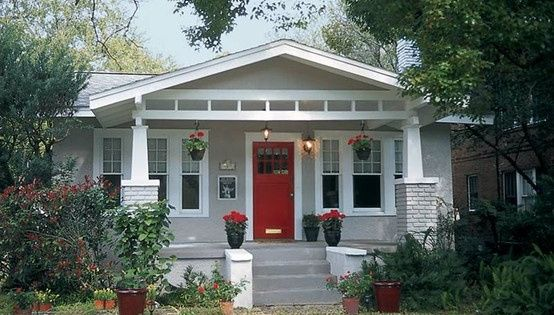 painted grey brick house painted gray brick white trim red door columns wide trim house. Black Bedroom Furniture Sets. Home Design Ideas