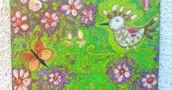 Acrylique sur toile peinture moderne envole d 39 oiseaux dans for Un jardin de fleurs