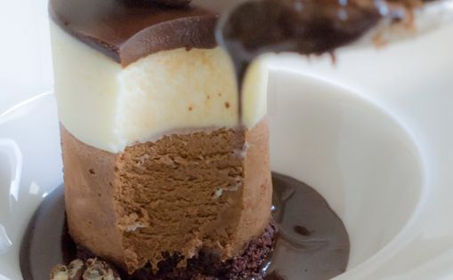 Triple chocolate mouse cake (recipe for individuals but you could make a