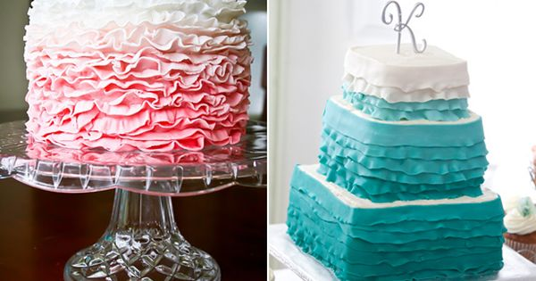 Ombre ruffle wedding cakes! almost too pretty to eat. almost...