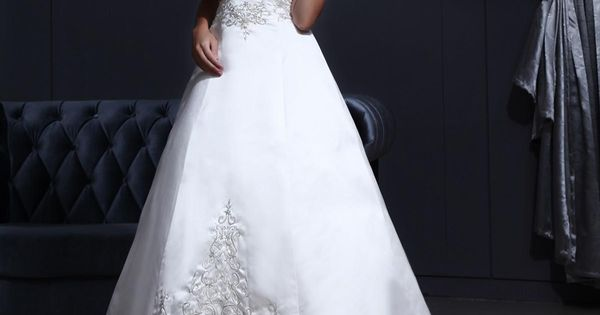 Halter Beading Embroidery Satin Chapel A-line Bridal Gown Wedding Dress Ball Gown,