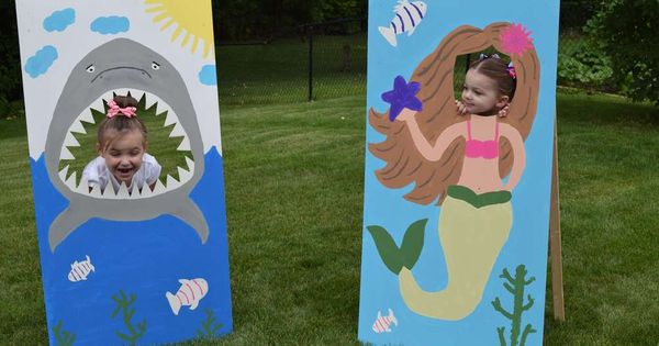 """DIY shark and mermaid """"face in hole"""" photo props, painted plywood/ birthdays"""