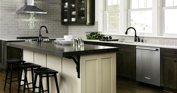 kitchens - gray glass tiles subway tiles backsplash