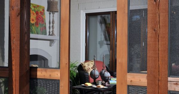 sliding screen doors - I love this idea - screened in porch,