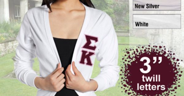 the letter v sigma kappa cardigan with twill letters sorority 25189