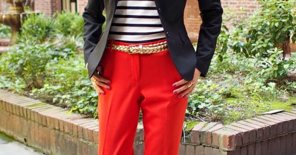 The Classy Cubicle: Fall Brights {red pants, navy blazer, striped top; loafers,