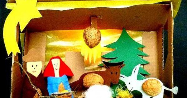 Weihnachtskrippen krippe aus nussschalen basteln - Nussschalen deko ...