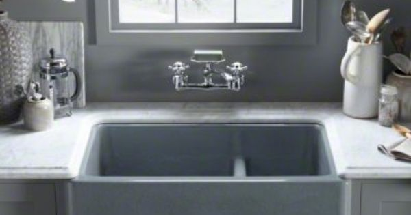 Farmhouse Sink With Divider : Sinks and Faucets -- Kohler Whitehaven Apron-Front Sink with divider ...