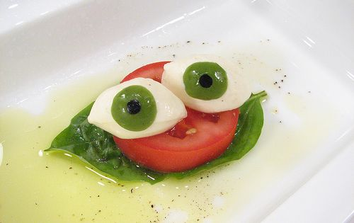 Eyeball Caprese Salad with green olive eyes