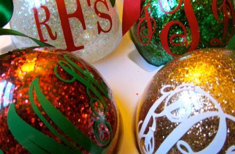 DIY Monogrammed Glitter Christmas Ornaments