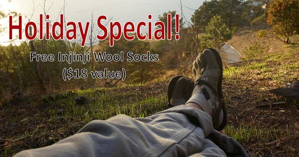 Take advantage of a limited time Holiday Deal offered by Bedrock Sandals. The special is for Free Wool Injinji toe socks with every order. Great for your next hike!