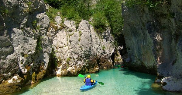 Kayak in Soca Gorges and cave - Slovenia. Photo by Jesenicnik. >>