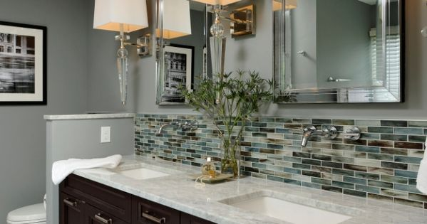 I love everything about this bathroom from the backsplash wall to the