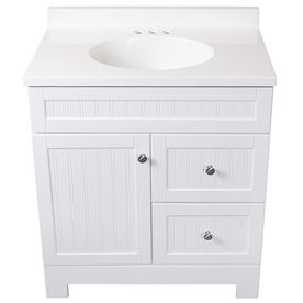 Shop Style Selections Ellenbee White Single Sink Vanity With White