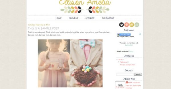 Blogger Premade Template Design Ellison Amelia Instant