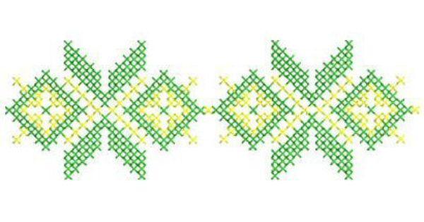 Geometric cross stitch motif machine embroidery design