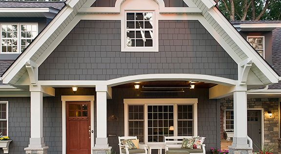 Dark Grey Siding Exterior Traditional With Arch Window