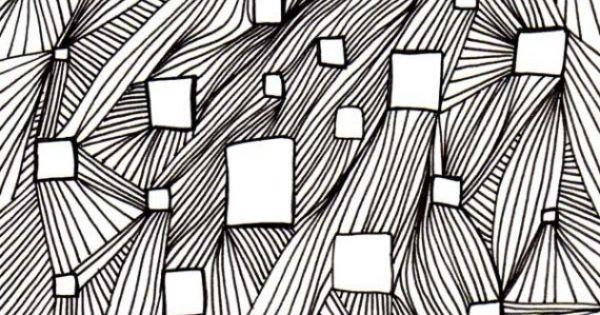 variation of line op art lesson, glue squares of op art drawings