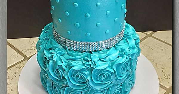 Turquoise rosette and rhinestone border tiered cake ...