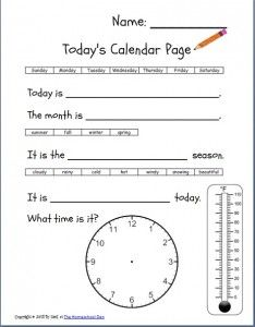 Free Printable Daily Calendar Worksheets