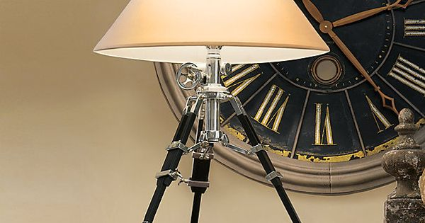 Royal marine tripod table lamp polished aluminum and black for Royal marine tripod floor lamp antique brass