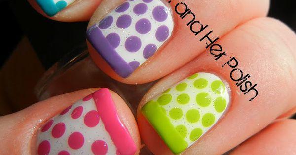 polka dot nail art. dots with french tips in same dot color.