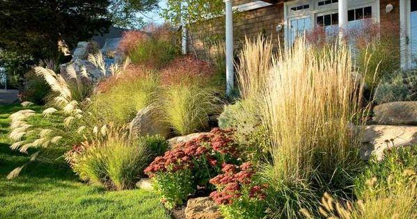 Ornamental grass garden ornamental grasses curb appeal for Amenagement jardin 2 niveaux