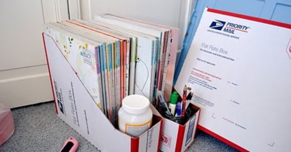DIY magazine files from post office boxes. Cover them with fabric and