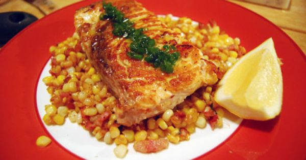 Swordfish with Corn & Pancetta | Must Love Seafood | Pinterest