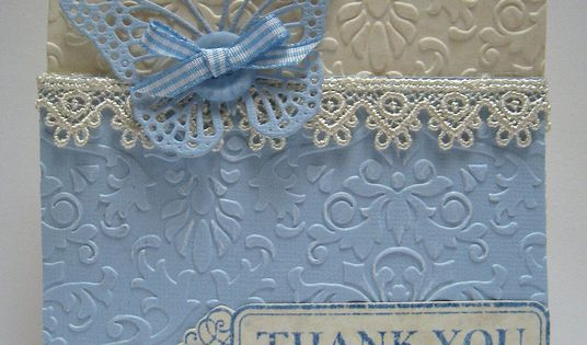 stampin up - Beautiful blue and cream Thank You card found on