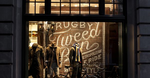 Window display for Rugby Ralph Lauren's flagship store in NYC. Chalk by
