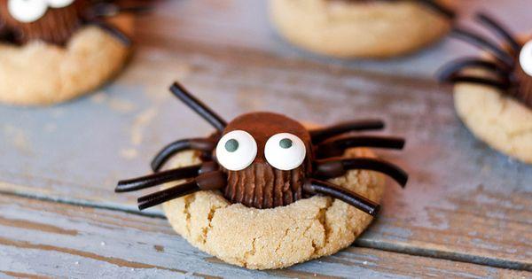 Spider peanut butter cookies cookies peanut butter halloween treats halloween