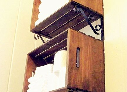 Great Idea For Downstairs Bathroom Wood Crate Shelves By Chapter37 Pallets Pinterest