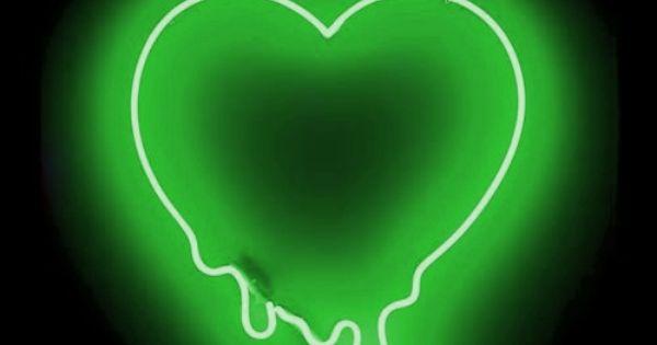 Green neon heart | Neon | Pinterest