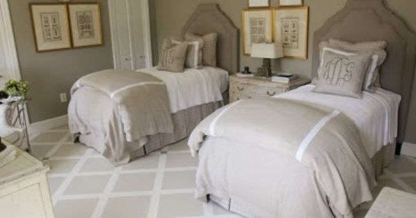 Guest Bedroom Twin Beds And Rug J Covington Interior