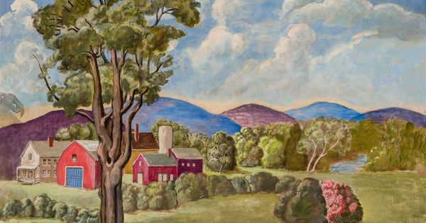 Farmhouses In The Berkshires Dorothy Easton Oil On Canvas 30 X 40 Private Collection Art Painting Oil On Canvas