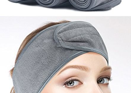 Sinland Facial Spa Headband For Washing Makeup Cosmetic Shower Soft Women Hair Band With Velcro Design Grey Pack Of 3 Spa Headband Facial Spa Womens Hairstyles