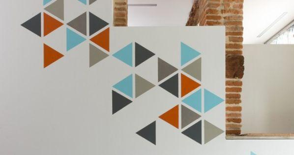 diy peinture murale comment faire une fresque g om trique appartement essayer et bonnes id es. Black Bedroom Furniture Sets. Home Design Ideas