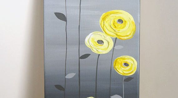 Yellow and Grey Textured Flower Art Original Acrylic Painting on