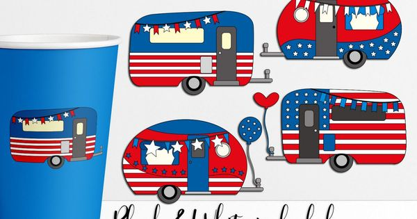 Happy Camper Independence Day Illustrations 257460 Illustrations Design Bundles In 2021 Happy Campers Creative Cards Independence Day