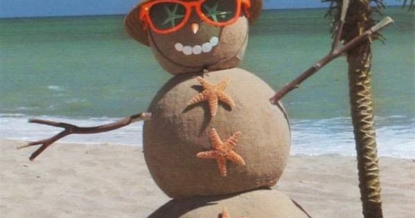 Tropical Beach Sand Snowman - what a cute Christmas card this would