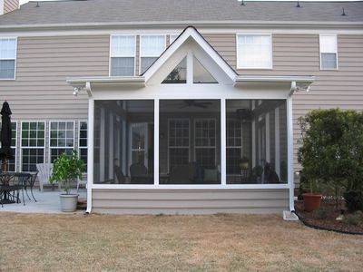 Screened Porch With Shed Roof With Modified Gable House With